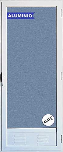 Ventanastock Puerta Balconera Aluminio Practicable Derecha 800 ancho x 2000 alto con Rejilla de ventilación y cristal mate Carglas 1 hoja