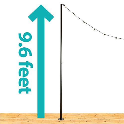 """IYN Stands Outdoor String Light Pole Stand, 9'6"""" Ft. Durable Powder Coated Steel, Weather Resistant, Mount to Deck or Concrete, Patio, Backyard, Wedding, Event, Restaurant, Rooftop, USA Made-Black"""