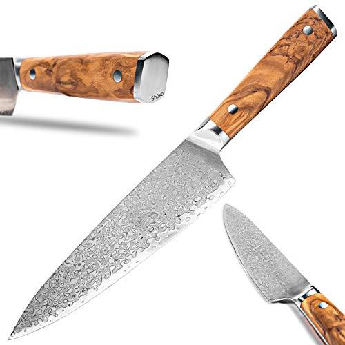 Shoko® Damast Chefmesser Küchenmesser Kochmesser mit Olivenholz Damastmesser (Französisches Chefmesser)
