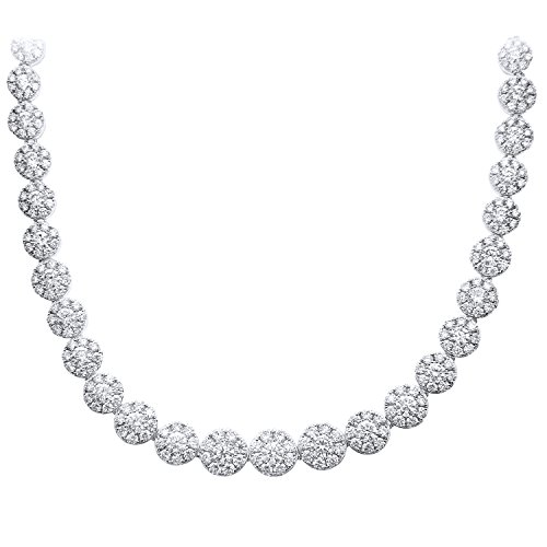 Naava 18 Karat Weiß Gold Spektakuläre Halo Set 7.50CT Diamanten G/SI1Single Strand Halskette
