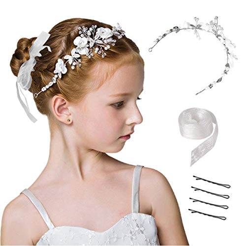 CASKIE Hochzeit Haarschmuck Für Mädchen Und Blumenmädchen, Haar-Accessoires Erstkommunion Prinzessin Weiße Blume Kopfschmuck Perle Haarschmuck Hochzeit Party Für Mädchen