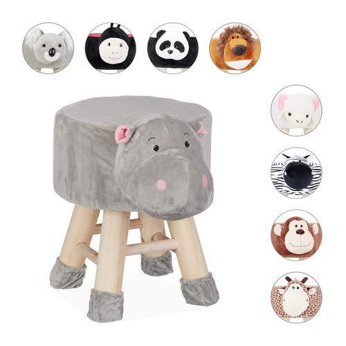 Relaxdays Tierhocker Nilpferd, Dekohocker für Kinder, Abnehmbarer Bezug, Holzbeine, gepolstert, Kinderhocker Tiere, grau, HBT: 46 x 34,5 x 28 cm