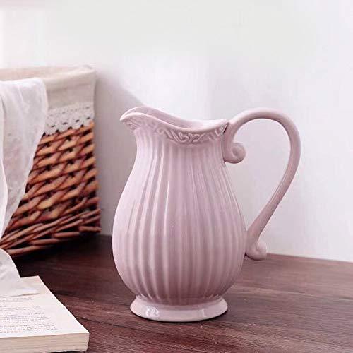 GMMH Pastel Krug Keramik Kanne Karaffe Milchkrug (Rosa)