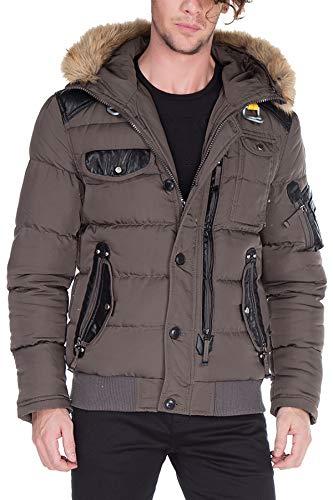 Cipo & Baxx Herren Steppjacke Winterjacke Jacke Kapuzenjacke Parka Mantel Winter Jacke Khaki L