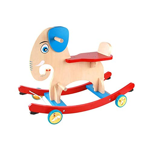 NXYJD Mecedora de Madera multifunción 2 en 1, Mecedora de Juguete Trojan, Carro de bebé, Carro para niños
