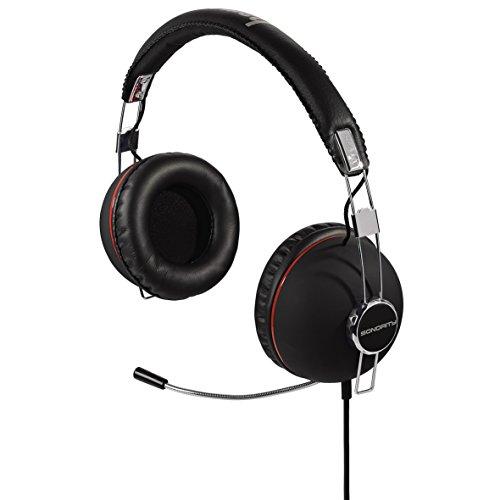 Hama Stereo-Headset Sonority (2 m Kabel, 3,5 mm Klinkenstecker, ausziehbares Mikrofon) schwarz