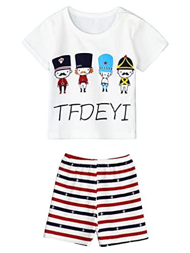 renvena Baby Jungen Sommer Kleidung Cartoon Tierdruck Kurzarm T-Shirt Shorts Set Kinder Mädchen Kleidung Set Sommer Outfits A Soldat 110-116