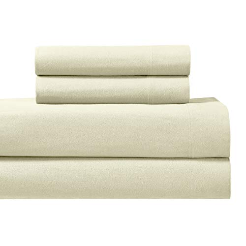 Royal Tradition Heavyweight Flannel, 100 Percent Cotton King 4PC Bed Sheets Set, Ivory, 170 GSM