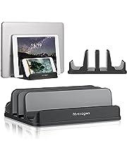 Hivexagon 2 gniazda pionowy stojak na laptopa regulowany rozmiar dokowania od 16 mm do 40 mm ze stopu aluminium oszczędność miejsca pasuje do większości laptopów (czarny/4 gniazda)