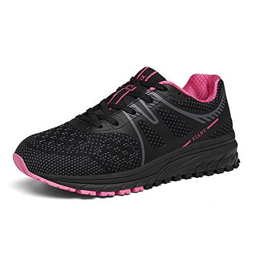 DUORO Sportschuhe Herren Laufschuhe Damen Turnschuhe Leichte Sneaker Joggingschuhe (Schwarz-pink-193, Numeric_37)