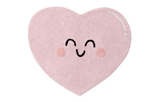 Lorena Canals Alfombra Lavable Happy Heart Rosa, Gris Oscuro, Melocotón - 97% algodón 3% Otras Fibras Base: Algodón Reciclado - 90 x 105 cm