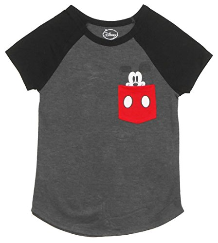 Disney Ladies Pocket Size Mickey Mouse Tee Charcoal/Black X-Large