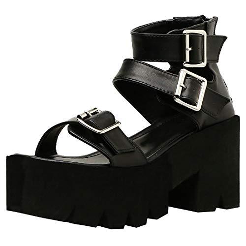 Etebella Damen Plateau High Heels Gothic Sandalen mit Schnallen und Blockabsatz Punk Sommer Offen Schuhe (Schwarz,39)
