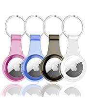 Shamo's AirTag Case TPU Cover with Keychain Ring Silicone Soft, AirTags Holder, Water Resistant for Keys, Backpacks, Black, Clear, Blue, Pink | 4-Pack