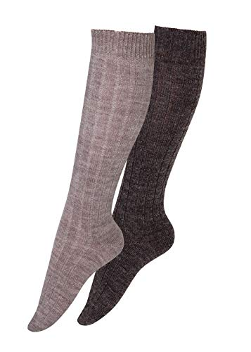Wollsocken Alpaka Socken Damen Herren kuschelweich bis Größe 50, 2 Paar (39-42, Kniestrümpfe 1xbraun/1xdunkelbraun)