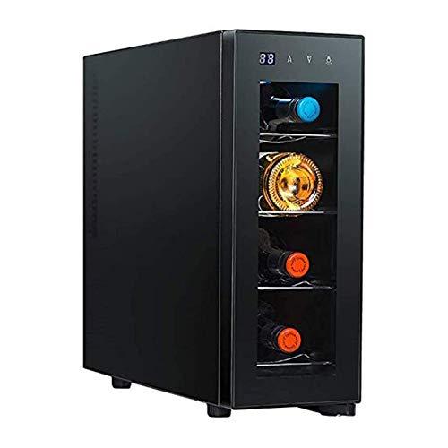 LYGACX Mini refrigerador de vinos, 4 Botellas Frigorífico de Vino Refrigerador 11-18 ℃ Zona de Temperatura Bebida Bebida Refrigerador de Vidrio Puerta de Vidrio Fits Habitación Oficina Cocina Comedor
