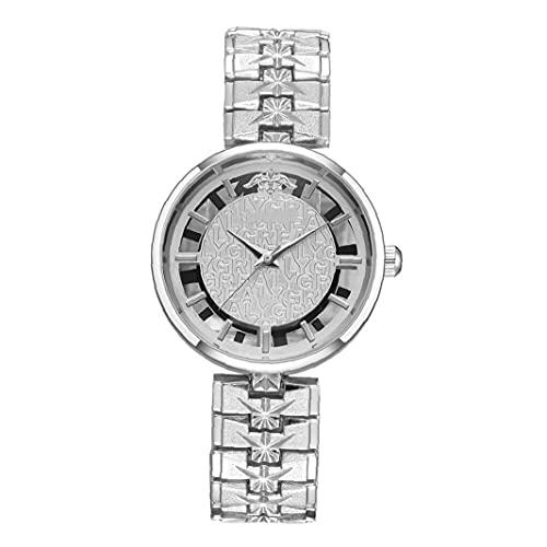 Las mujeres con estilo hueco Reloj de pulsera analógico reloj de cuarzo con metal Brazalete de negocios casual de lujo reloj de pulsera-plata, reloj del negocio