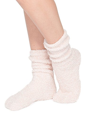 BAREFOOT DREAMS THE COZYCHIC HEATHERED WOMEN'S SOCKS (DUSTY ROSE/WHITE)