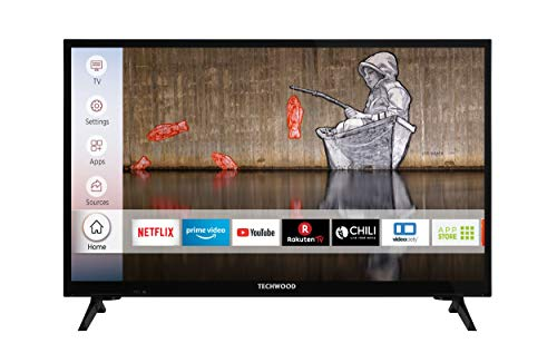 Techwood H24T52E 24 Zoll Fernseher (Smart TV inkl. Prime Video / Netflix / YouTube, HD ready, Works with Alexa, Triple-Tuner) [Modelljahr 2021]