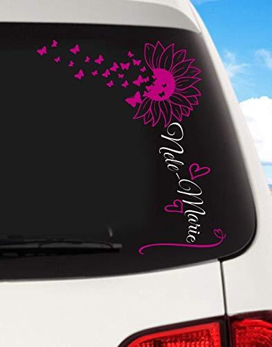 Babyaufkleber Geschwister Namen - Aufkleber für Auto,Wand o. Türtattoo ***Sonnenblume mit eigenem Wunschtext (freie Farbauswahl)