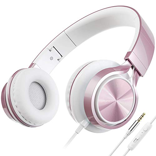 AILIHEN C8 Headphones with Microphone and Volume Control Folding Lightweight Headset for Cellphones Tablets Smartphones Laptop Computer PC Mp3/4 (Rose Gold) (Renewed)