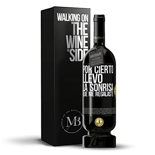 «Por cierto llevo la sonrisa que me regalaste» Mensaje en una Botella. Vino Tinto Premium Reserva MBS Martín Berasategui System. Etiqueta Negra PERSONALIZABLE.