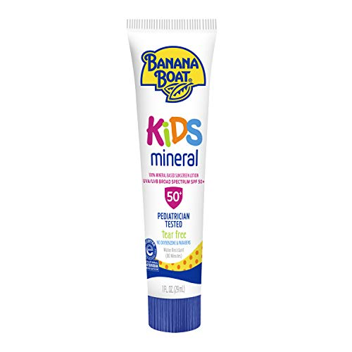 Banana Boat kids mineral Tear Free, Reef Friendly Sunscreen Lotion for Kids, Broad Spectrum SPF 50, 1 Ounce TSA Approved - Pack of 24