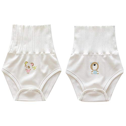 Baby Learning Pants High Waist Underwear Leakproof Diaper Washable Girls Boys, Infant Training Pants Changing Nappy, Potty Training Pants Cotton Breathable, 2 Packs,66cm