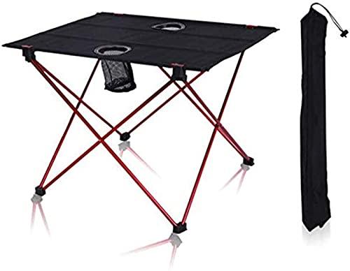 Mesa de Camping Plegable Ligera con Tablero de Tela Oxford y Bolsa de Transporte, fácil de Llevar, Mesa de Camping para Picnic al Aire Libre, Cocina, Senderismo en la Playa, 42x56x40cm