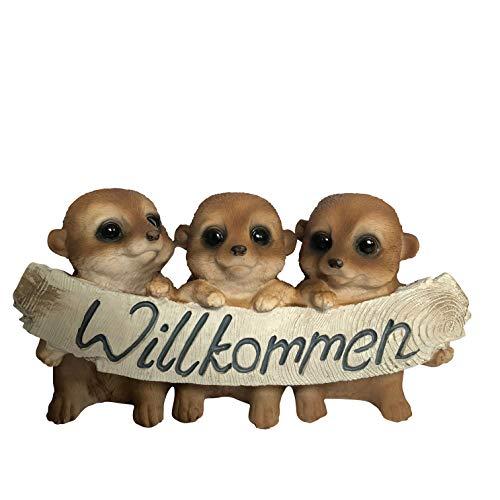 OF Verschiedene Gartenfiguren Willkommen Schild - Deko Figuren Hunde, Katzen, Erdmännchen, Mops, Bulldogge, Labrador (Erdmännchen)
