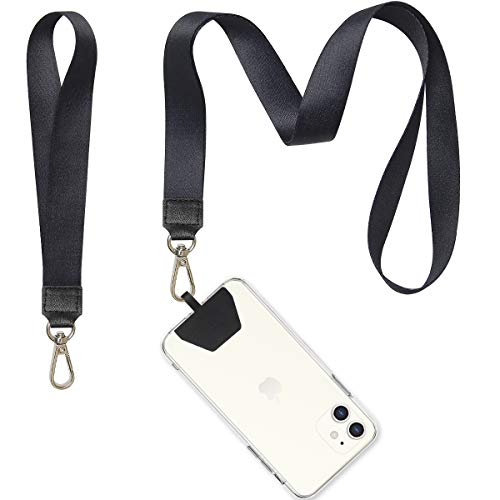 Phone Lanyard, COCASES Wrist Lanyard and Neck Lanyard for Keys ID Badge Set Phone Tether for iPhone, Galaxy & Most Smartphones (Black)