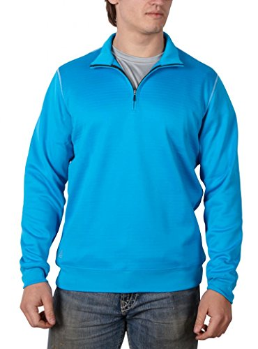 adidas Herren Kontrast Texturierte 1/2 Zip P/O PUR/JAS MD Medium Aquatic/Cloud