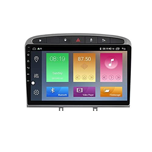 Android 10.0 Car Stereo 2 DIN In-Dash Radio para Peugeot 308408 2007-2014 Navegación GPS 9 '' Unidad Principal Reproductor Multimedia MP5 Receptor de Video con 4G / 5G WiFi Carplay