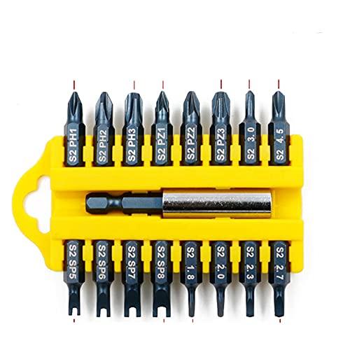 Juego de puntas de destornillador eléctrico de 17 piezas, juego de puntas de inserción magnética hexagonal, juego de tornillos de destornillador eléctrico cruzado de cabeza plana D