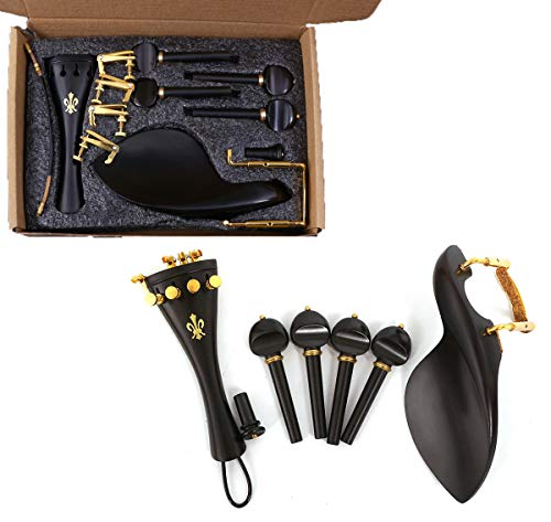 Yinfente 4/4 Violin kit Full Size Violin Accessories Peg Tailpiece Fine Tuner Chin Rest Clamp End pin (4/4)