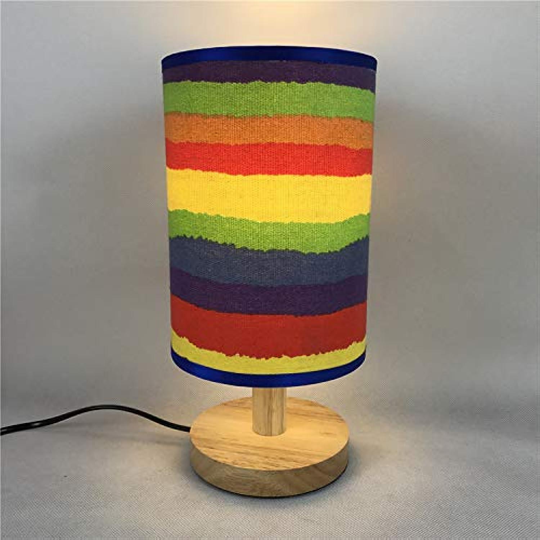 JINSH Home Gestreifte Regenbogen Leinwand Tischlampe B07JMJD1KV | Spielzeugwelt, fröhlicher fröhlicher fröhlicher Ozean  3a1490
