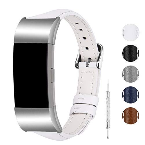 Fullmosa Kompatibel für Fitbit Charge 2 Armband,Schmal Serie Lederband für Damen Herren,Weiß