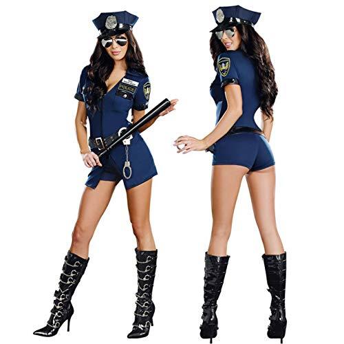 Runsmooth Sexy Polizistin Kostüm Cosplay Kleidung Versuchung Adult Cop Uniform Outfit Set mit Handschellen, Hut und Gürtel, Blau