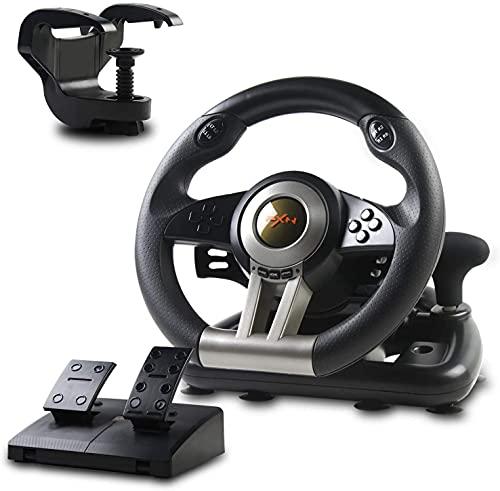 PXN V3II Volante de Juego de Carreras con Pedales Ajustables, 180 ° USB Universal Volante Gaming de Coches para PC, PS3, PS4, Xbox One, Nintendo Switch, Xbox series X|S - Negro