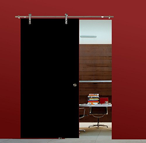 BV900BA: Glasschiebetür Glas Schiebe Tür VSG hochglanz schwarz 900x2050mm inkl. Soft Stop Edelstahl Schiebetürbeschlag