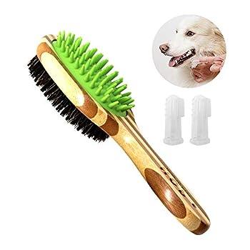Brosse de toilettage pour chien, double face brosse de toilettage pour chien, aiguille en silicone et peigne en bambou naturel, pour massage et épilation, brosse de massage pour animaux de compagnie