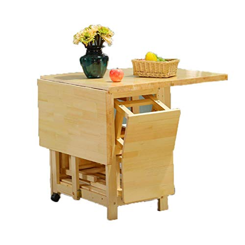 AOIWE Juego de 2 taburetes de 1,2 m, mesa de comedor plegable, hoja de gota, muebles de cocina de madera maciza natural para grandes espacios pequeños (color: natural)