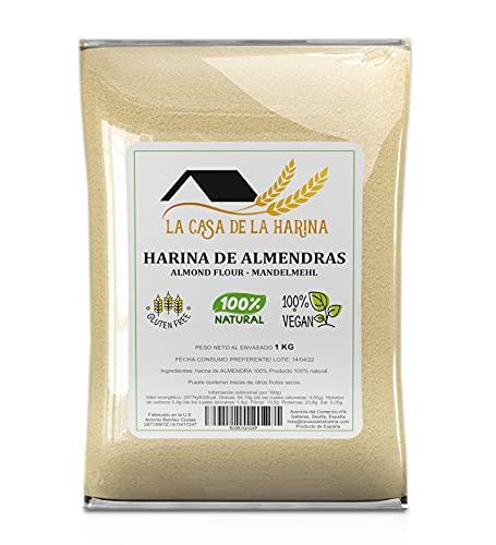 HARINA DE ALMENDRAS (1 KG ) | PREMIUM | Sin gluten | Apta para dietas Keto (5,4g x 100g carbohidratos) | Apto Vegano | 100% natural | LA CASA DE LA HARINA | Producto de España (1 KG)