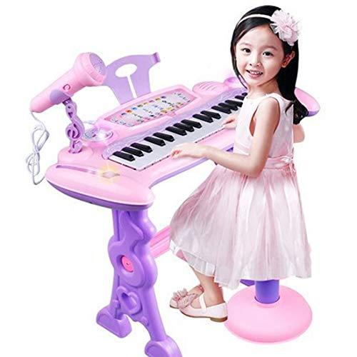 HENG Klaviertastatur Kinder, 37 Tasten Elektronische Tastatur Multifunktionelle Klavier Piano Musikinstrument Spielzeug mit Mikrofon und Hocker für Kinder