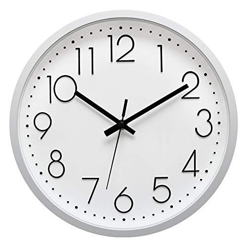 Foxtop Reloj de pared silencioso de 30 cm para salón, dormitorio, cocina, oficina