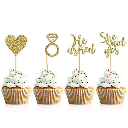 Donoter 48 Pcs Gold He Asked She Said Yes Cupcake Toppers Diamond Ring Heart Cake Picks for Wedding Engagement Party Cake Decorations