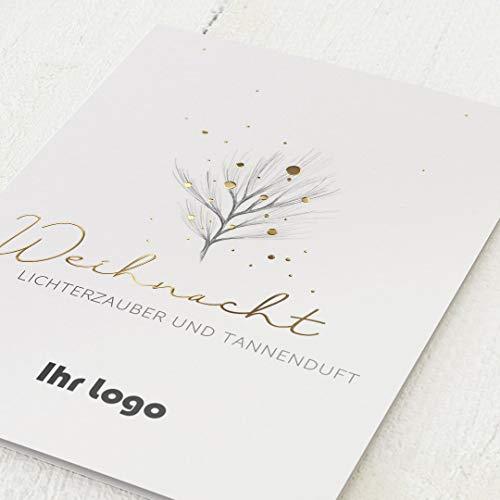 sendmoments Firmen-Weihnachtskarten im Set mit Veredelung in Gold, Weihnachtszweig, personalisiert mit Ihrem Firmenlogo & -Text, 12 Klappkarten, optional mit bedruckten Design-Umschlägen
