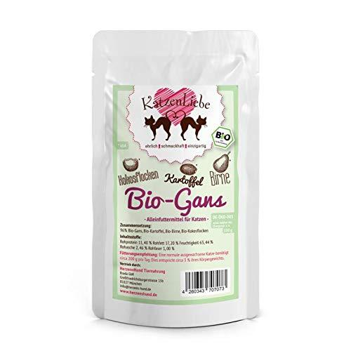 Herzens-Hund Katzenliebe Bio-Gans | 15x 100g Katzenfutter nass
