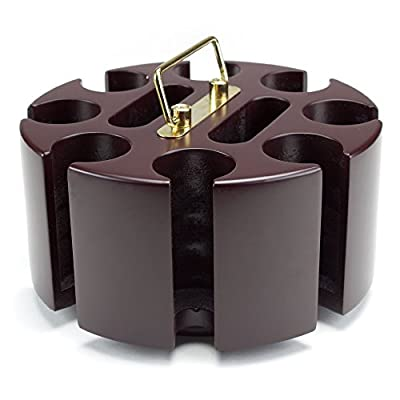 200 ct. Rotating Poker Chip Carousel | 8 Denomination Clay Chip Storage for Blackjack, Las Vegas Craps, Texas Hold'em, and Omaha, Plus Two-Deck Playing Card Holders | Casino Game & Gambling Accessory