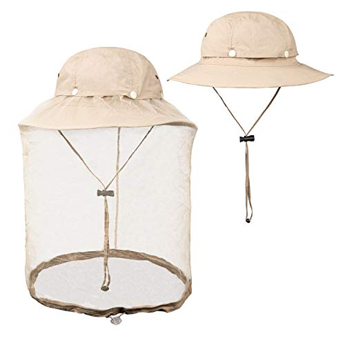 FitsT4 Mosquito Net Hat UPF 50+ Fishing Hat Bug Insect Bee Hat for Men Women Khaki